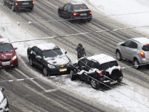 Dangerous winter conditions cause accident on highway.