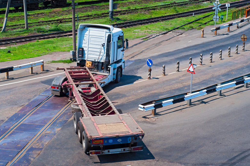 Tractor Trailer Making A Swinging Turn